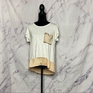Anthropologie Dolan Peach Colorblock Pocket Tee